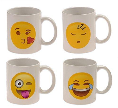 Emoji Universe: WAKE UP! Emoji Coffee Cups, (Set of 4); Choice of Style of Coffee Mugs