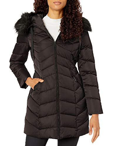 T Tahari Women's Heavy Weight Puffer Coat with Faux Fur Hood