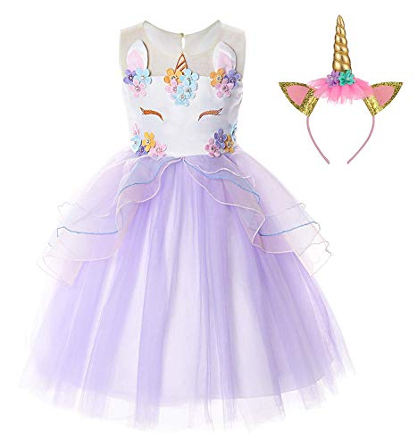 TTYAOVO Flower Girls Unicorn Costume Kids Pageant Princess Party Dress with Unicorn Headband Size 5-6 Years Purple ()