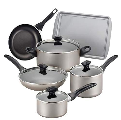 アルミニウム 調理器具 15点セット - ノンスティックパン 食洗機およびオーブン対応 - キッチン用品ツールキット お徳用セット - シェフやお母さんに最適 - 頑丈な構造 - シャンパン色   B07GRL99MC