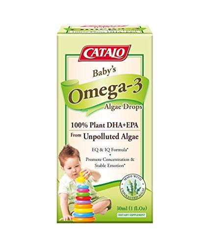 CATALO - Baby's Algae Omega-3 Drops, EQ and IQ Development with Omega 3, DHA, EPA, Glass Dropper, 1 Fl.oz