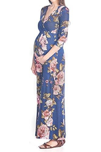 Beachcoco Maternity Women's V-Neck 3/4 Sleeve Nursing Maxi Dress (M, Multi 03 Navy)