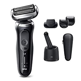 Braun Electric Razor for Men, Series 7 7075cc 360 Flex Head Electric Shaver with Beard Trimmer, Rechargeable, Wet & Dry, 4in1 SmartCare Center and Travel Case, Black