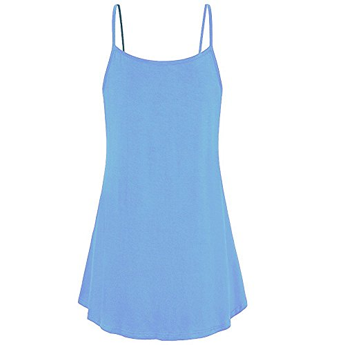 Price comparison product image COPPEN Women Vest Summer Tops Loose Button V Neck Cami Tank Blouse Sky Blue