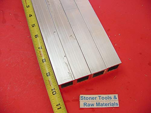 4 Pieces 1''x 1''x 1/8'' Wall x 10'' Long Aluminum Square Tube 6063 T52 1''SQ x .125''