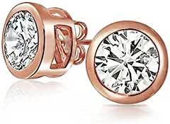 Bling Jewelry Bezel Set Round CZ Rose Gold Plating Sterling Silver Stud Earrings 5mm