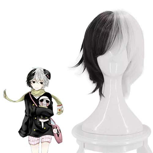 HLZG Bungo Stray Dogs Cosplay wig, Stray Dogs Costume Half Black and Half White Hair -