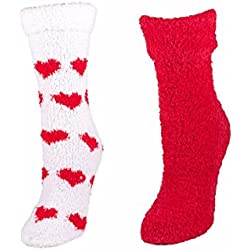 Lavender Infused Slouchy Socks with non slip / non skid bottoms red by Minx, 2 Pair Gift Set (Red/White)