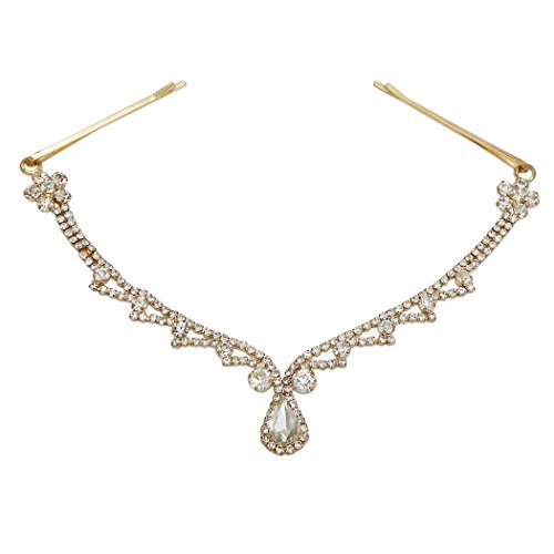 Rosemarie Collections Women's Teardrop Crystal Rhinestone Tikka Hair Comb Head Chain (Gold Tone)