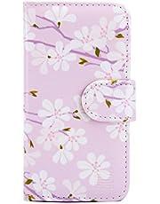 32nd Blommiga Serien - Blommönster PU läderfodral plånbok Flipfodral Skal för Apple iPhone 5, 5S & SE (2016), Syntetiskt Läder Design med kortplats och Magnetisk Stängning - Körsbärsblom