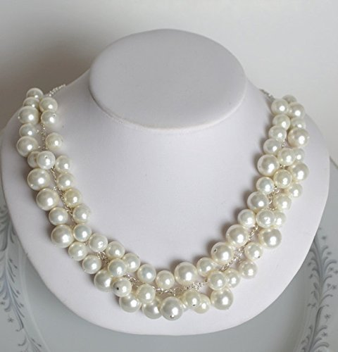 5ba73c9b33ab6 Amazon.com: Pearl cluster necklace, white pearl necklace: Handmade