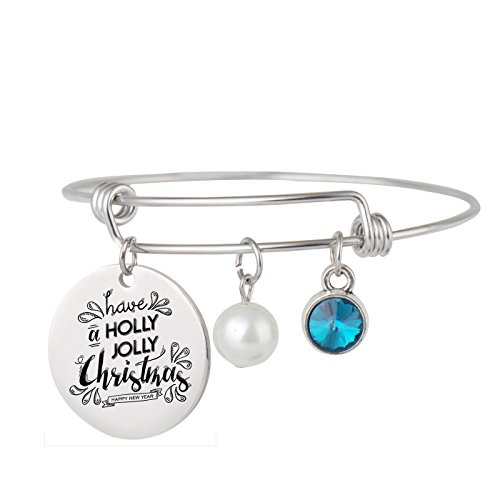 Charm Jolly Holly - Aoloshow Adjustable Wire Bangle Bracelet Charm Gifts for Women Girls -Have a Holly Jolly Christmas