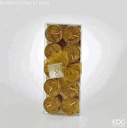 Candela A LUMINO TEALIGHT Glitter Oro CONF 10PZ EDG