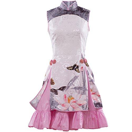 Kleid Partiss Drucken Chinesischer Damen Chinoiserie Teeparty wie Lolita amp;Schmetterling Kleid Stil Foto Blumen R1rRq0w