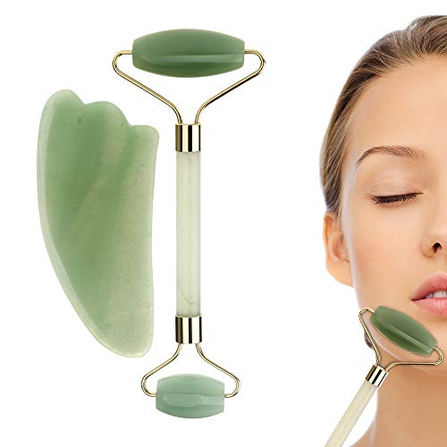 Jade Roller & Gua Sha Massage Tool Set, Jade Roller for Face, 100% All-Natural jade, Highly Potent, Anti Aging Wrinkle, Facial Massager Therapy, Clears Toxins, Reduces Puffiness ()
