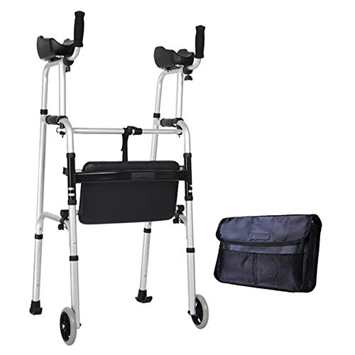 (XIHAA Elderly People Standard Walkers Foldable Walker Adjustable Walking Assist Equipped Wheels Equipped with Arm Rest Pad for The Limited Mobility with Disabled (Send Storage Bag),Withseatboard)