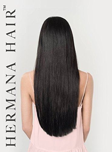Star En Costume Noir (Hermana Hair Clip In Hair Extensions 100% Remy Human Hair Luxury Quality 20 inch Long Hair Extra Secure Clip Ins Add Instant Length & Volume to Your Hair (Natacha Noir Black 001))