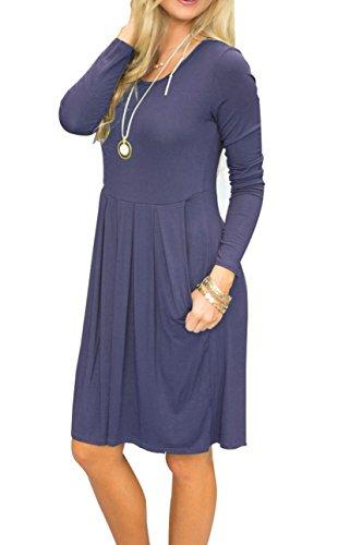 Length Gray with Purple Sleeve Knee AUSELILY Long Loose Casual Pockets Pleated Dress Women's Swing PwaqB