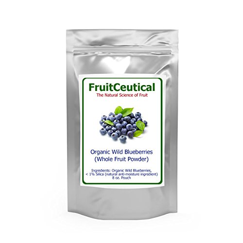FruitCeuticals Organic Blueberry Powder Made With Whole Fruit Wild Blueberries - 8 Ounce Pouch (90 Day Supply)