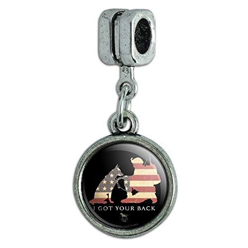 GRAPHICS & MORE I Got Your Back Soldier and German Shepherd Dog American Flag Italian European Style Bracelet Charm Bead