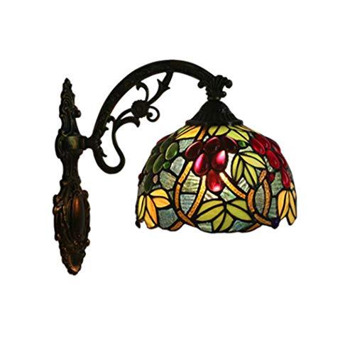 European Inspired Pub Bar - GAOLIQIN Tiffany Style Wall Lamp, Church Stained Glass Grape Design Wall Light, European Retro Pub Stairs Aisle Corridor Farmhouse Wall Lamp (Color : A)