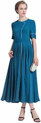 40f4f52d437 VOA Women's Blue Scoop Neck Short Sleeve Silk Maxi Dress ALX03901