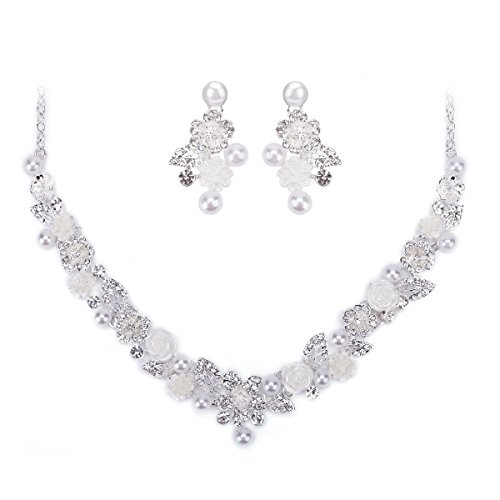 Ezerbery Women's Wedding Bridal Jewelry Set Austrian Crystal Simulated Pearl Necklace Dangle Earrings Jewelry For Wedding, Prom, Bridesmaids or Mother of Bride -