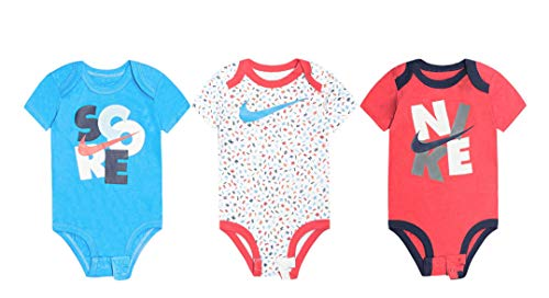 NIKE Swoosh Three-Piece Infant Baby Bodysuit Set (6-9 Months, Rainbow Print(56D381-000)/Blue/Red)