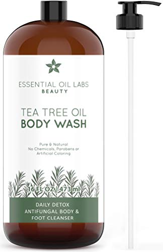 Tea Tree Oil Body Wash, 16 oz- Daily Detox Antifungal Body and Foot Cleanser - Great for Acne by Essential Oil ()