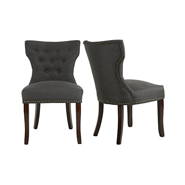 LSSBOUGHT Set of 2 Fabric Dining Chairs Leisure Padded Chairs with Brown Solid Wooden...