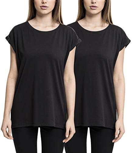 Urban Classics damskie Extended Shoulder Tee 2 Pack kobiety t-shirt czarny: Odzież