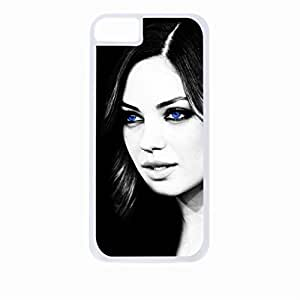 Mila Kunis-Blue Eyes -Hard White Plastic Snap - On Case with Soft Black Rubber Lining-Apple Iphone 5c Only - Great Quality!