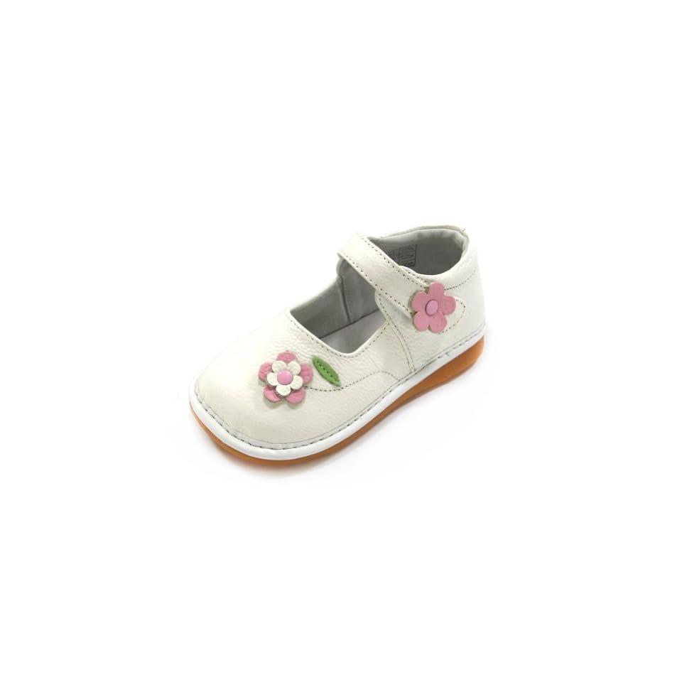 HLT Toddler/Little Kid Girl Spring Time Flower White Squeaky Shoe [US 4 / EU 20]