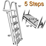 RecPro Marine PONTOON BOAT DOCK HEAVY DUTY ALUMINUM 5 STEP REMOVABLE BOARDING LADDER AL-A5