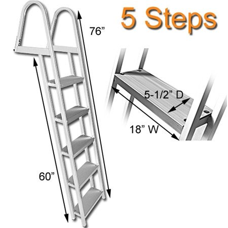 RecPro Marine PONTOON BOAT DOCK HEAVY DUTY ALUMINUM 5 STEP REMOVABLE BOARDING LADDER (Dock Ladder)