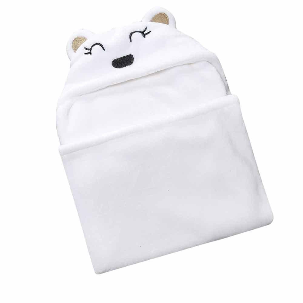 Cute Bearフード付きおくるみラップ幼児Receiving Blanketホワイト  ホワイト B07252JS56