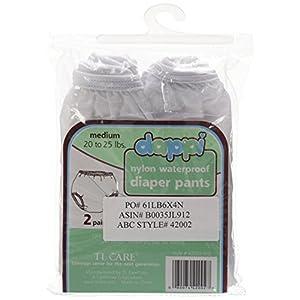Dappi Waterproof 100% Nylon Diaper Pants, 2 Pack, White, Medium