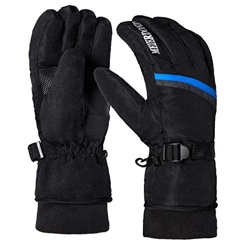 Winter Warm Ski Gloves - Waterproof & Windproof Snow Gloves for Women, Snowboard Gloves with Wrist Leashes and Fleece Lined