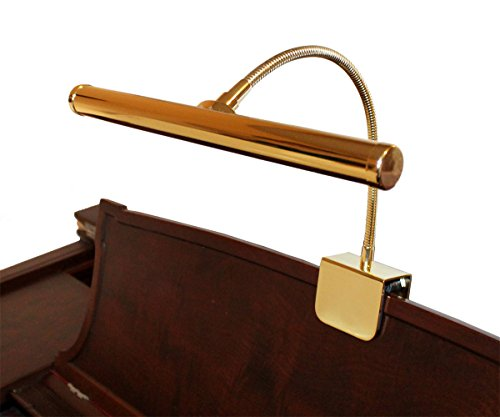 Grand Piano Lamp Adjustable (LED Piano Lamp Brass Flexible Gooseneck 12 Inch Shade Piano Light)