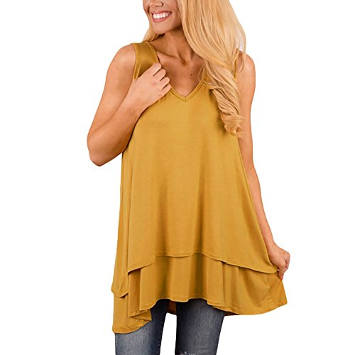 Londony✚‿✚ Womens Tunic Plus Size Candy Color Long Flowy Tank Top V-Neck Loose Basic T Shirt Yellow
