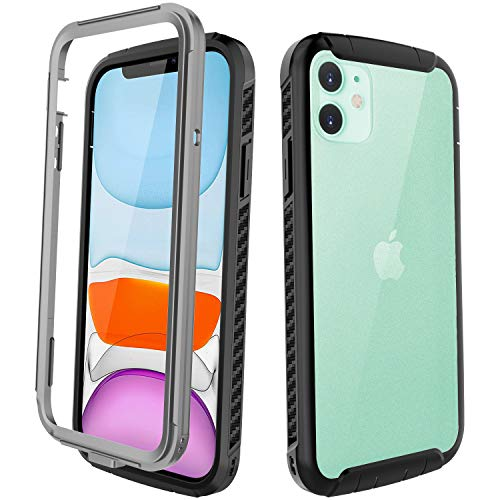 iPhone 11 Case, Full Body Heavy Duty Protection Rugged Shockproof Case Built-in Screen Protector for iPhone 11 (2019, 6.1 Inch) - Matte Clear Back