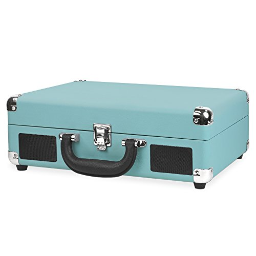 Victrola Vintage 3-Speed Bluetooth Suitcase Turntable with Speakers, Aqua Turquoise by Victrola (Image #1)