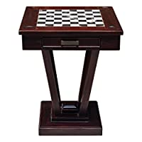 Handcrafted Mahogany Checkerboard Game Table | Rec Room Accent Chess Wood