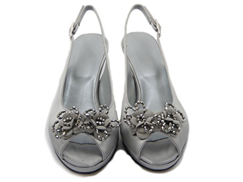 Fly Osvaldo hazards, Satin Fabric Sandals Silver Stiletto Heel 7 cm 8 mm .- platform 6420-Summer Silver