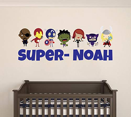 Custom Name Baby Avengers - Personalized Name Famous Superheros - Wall Decal for Nursery and Kids Decoration (Wide 15
