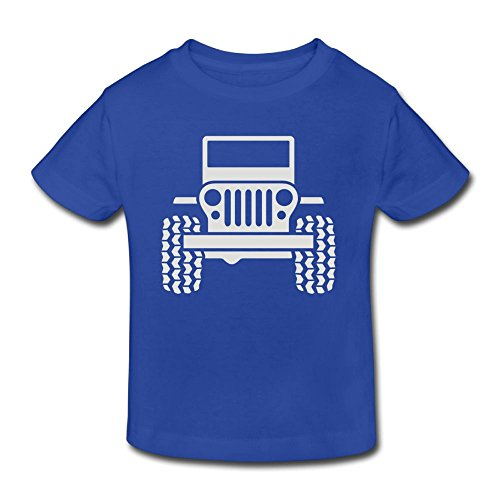 Wiongh Opp Cotton Party Short Sleeves T Shirt Jeep 1 Childrens/Kid for Girls-Boy Royal Blue
