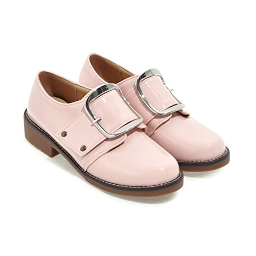Carolbar Womens Buckle Patent Leather Low Heel Fashion Casual Shoes Pink ROrYK