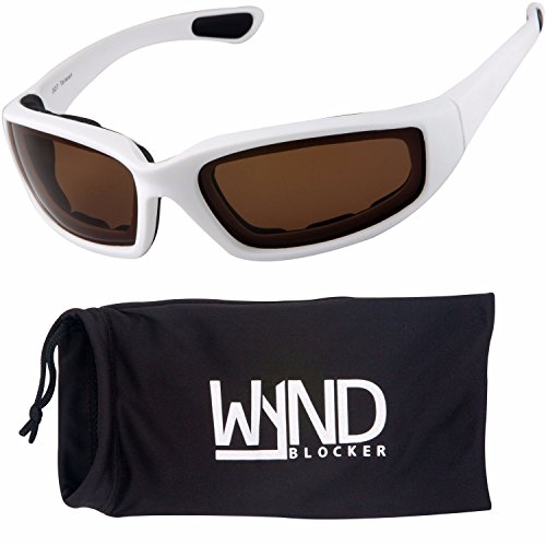 WYND Blocker Polarized Motorcycle & Fishing Floating Sports Wrap Sunglasses (White / PZ Amber - Glasses Sun Chopper