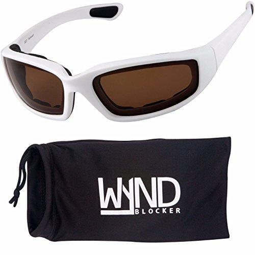 WYND Blocker Polarized Motorcycle & Fishing Floating Sports Wrap Sunglasses (White / PZ Amber - Sun Glasses Chopper