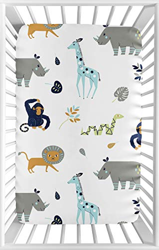 Navy Blue Jungle - Sweet Jojo Designs Turquiose and Navy Blue Safari Animal Baby Boy or Girl Unisex Fitted Mini Portable Crib Sheet for Mod Jungle Collection - for Mini Crib or Pack and Play ONLY